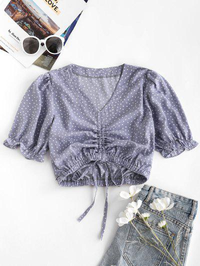 Polka Dot Cinched Tie Frilled Blouse - Light Purple S