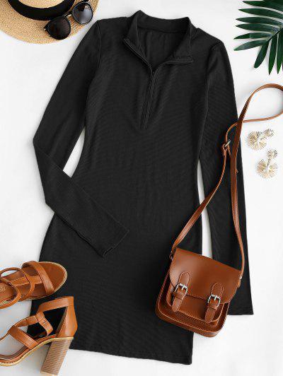 Thumb Hole Ribbed Half Zip Bodycon Dress - Black S