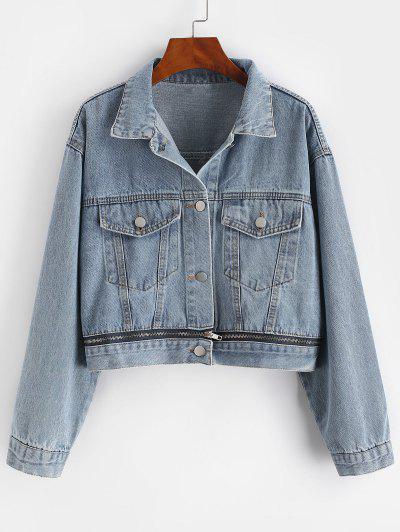 Button Up Zippered Hem Denim Jacket - Blue L