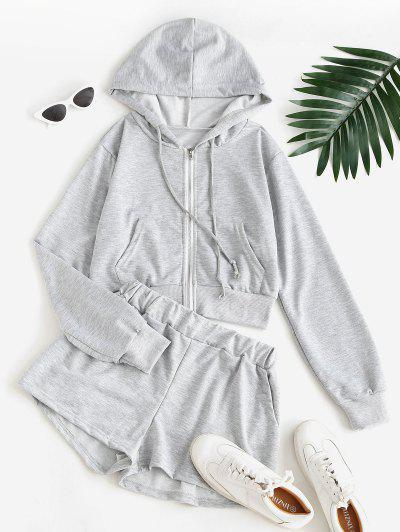 Sweat Marled Zip Up Hoodie And Shorts Set - Gray S