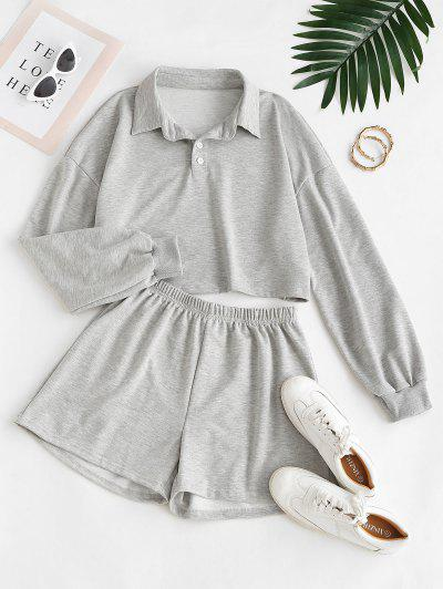 Two Buttoned Cropped Lounge Two Piece Set - Gray M