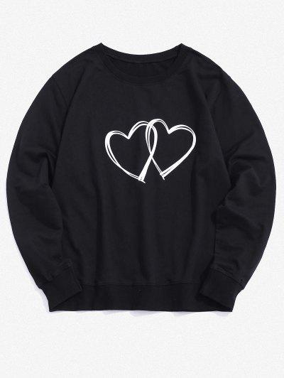 Dual Hearts Graphic Crew Neck Lounge Sweatshirt - Black M