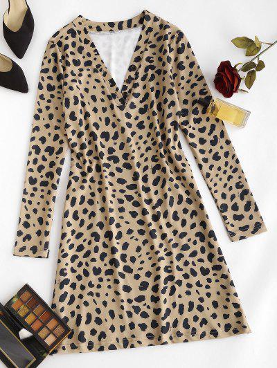 Vestido Ajustado Manga Larga Estampado Animal Leopardo - Café S