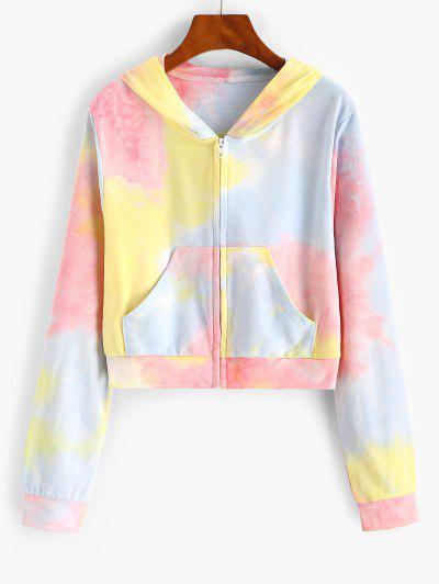 ZAFUL Pockets Zip Up Tie Dye Hoodie - Light Pink S