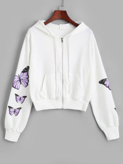 Pockets Zip Up Butterfly Hoodie - White M