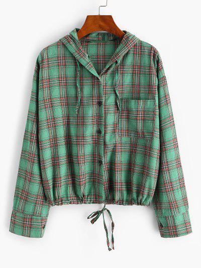 Plaid Hooded Drawstring Chest Pocket Jacket - Deep Green S