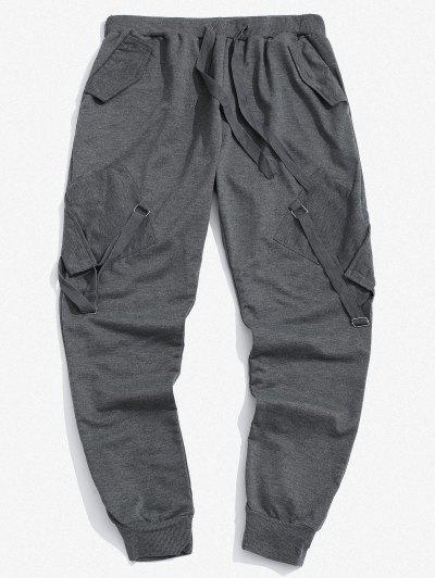 Pantaloni Cargo Elastici Con Nastro E Tasche - Grigio Scuro 3xl