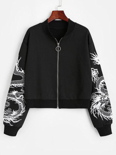 Dragon Print Oriental Drop Shoulder Jacket - Black S