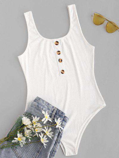 Ribbed Mock Button Bodysuit - White M