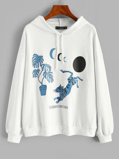 Oriental Tiger Moon Print Pullover Hoodie - White L