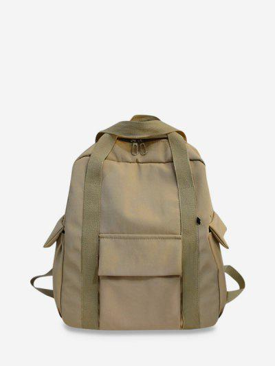 Waterproof Solid Pocket Backpack - Light Coffee