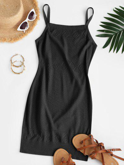 Straps Pointelle Knit Sweater Dress - Black L
