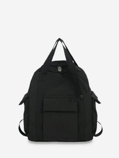 Waterproof Solid Pocket Backpack - Black