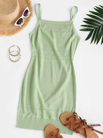 Straps Pointelle Knit Sweater Dress - Green M