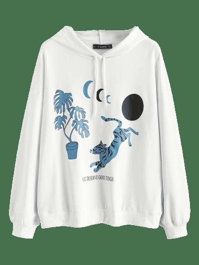 Oriental Tiger Moon Print Pullover Hoodie