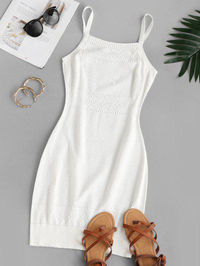 Straps Pointelle Knit Sweater Dress - White M