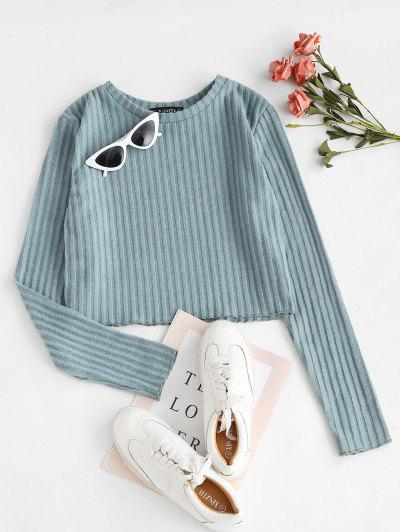 Cropped Fluffy Ribbed Knitwear - Light Blue M