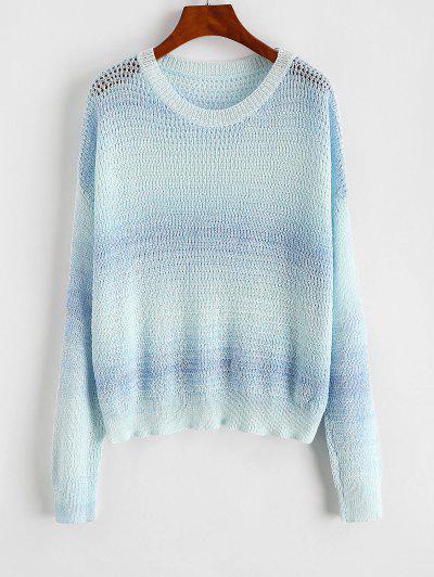 Drop Shoulder Ombre Open Knit Sweater - Light Blue