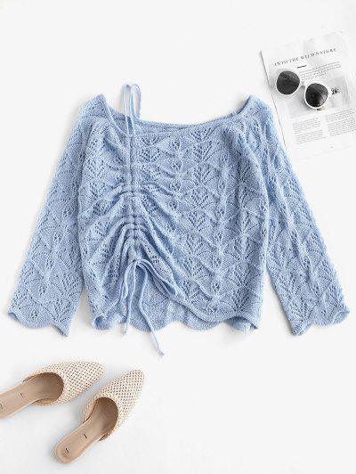 Skew Neck Cinched Openwork Sweater - Light Blue