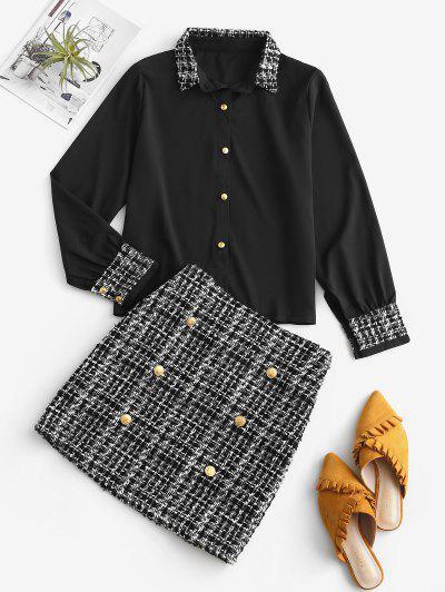 Dos Piezas De Falda Tweed A Cuadros Y Oficina - Negro S