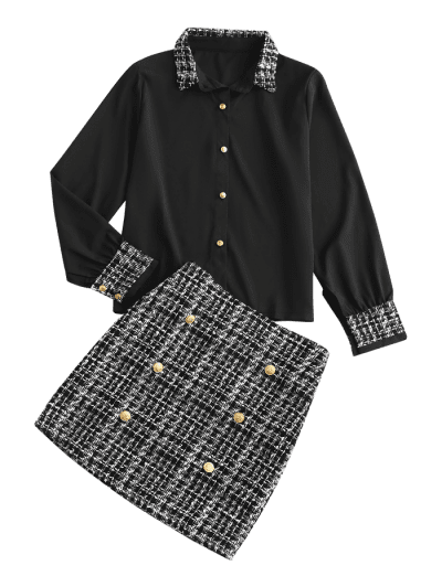Office Plaid Tweed Sailor Two Piece Dress