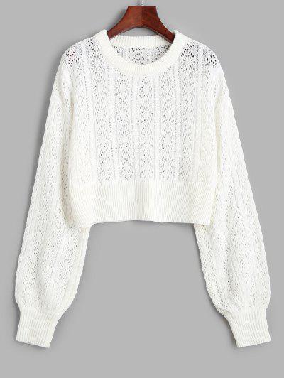 Openwork Drop Shoulder Jumper Sweater - White S