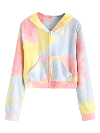 ZAFUL Pockets Zip Up Tie Dye Hoodie