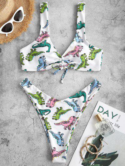 ZAFUL Cartoon Dinosaur Print Cinched Padded Bikini Swimwear - White M