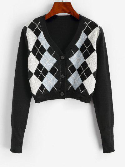 Argyle Button Up V Neck Crop Cardigan - Black