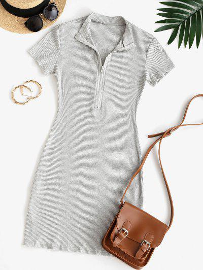 Half Zip Ribbed Bodycon Dress - Gray L