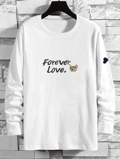 Forever Love Cartoon Dog Print T-shirt - White Xl