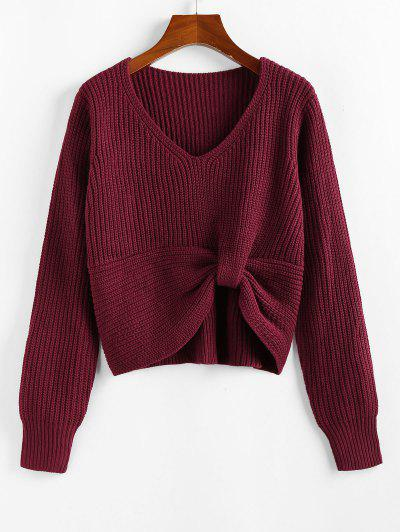 ZAFUL Twisted V Neck Jumper Sweater - Deep Red S