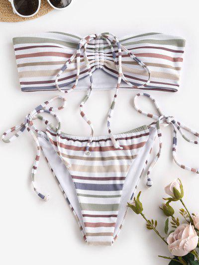 ZAFUL Ribbed Striped Cinched Convertible Tanga Bikini Swimwear - White M