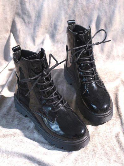 Round Toe Patent Leather Lace Up Boots - Black Eu 40