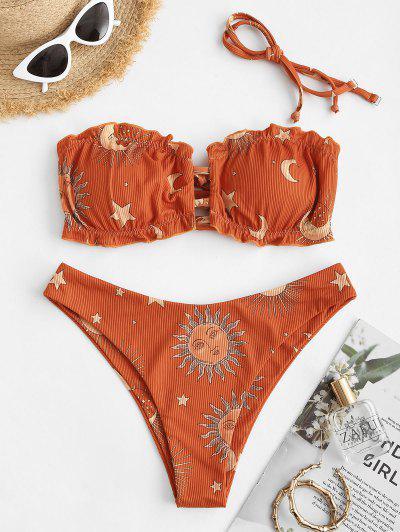 ZAFUL Sun Moon Star Print Ruffled Cutout Tube Bikini Swimwear - Orange S