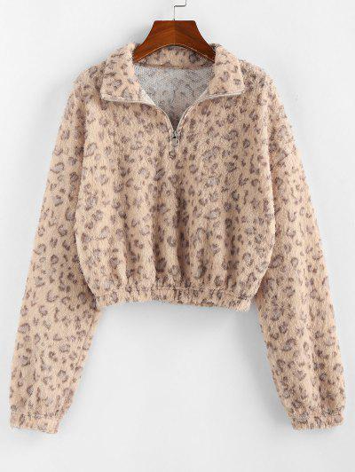 ZAFUL Half Zip Leopard Print Short Sweatshirt - Apricot S