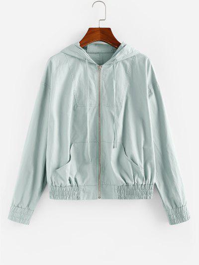 ZAFUL Kangaroo Pocket Hooded Zip Up Jacket - Blue Gray M