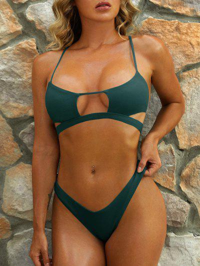 ZAFUL Cutout Textured High Leg Bikini Swimwear - Deep Green L