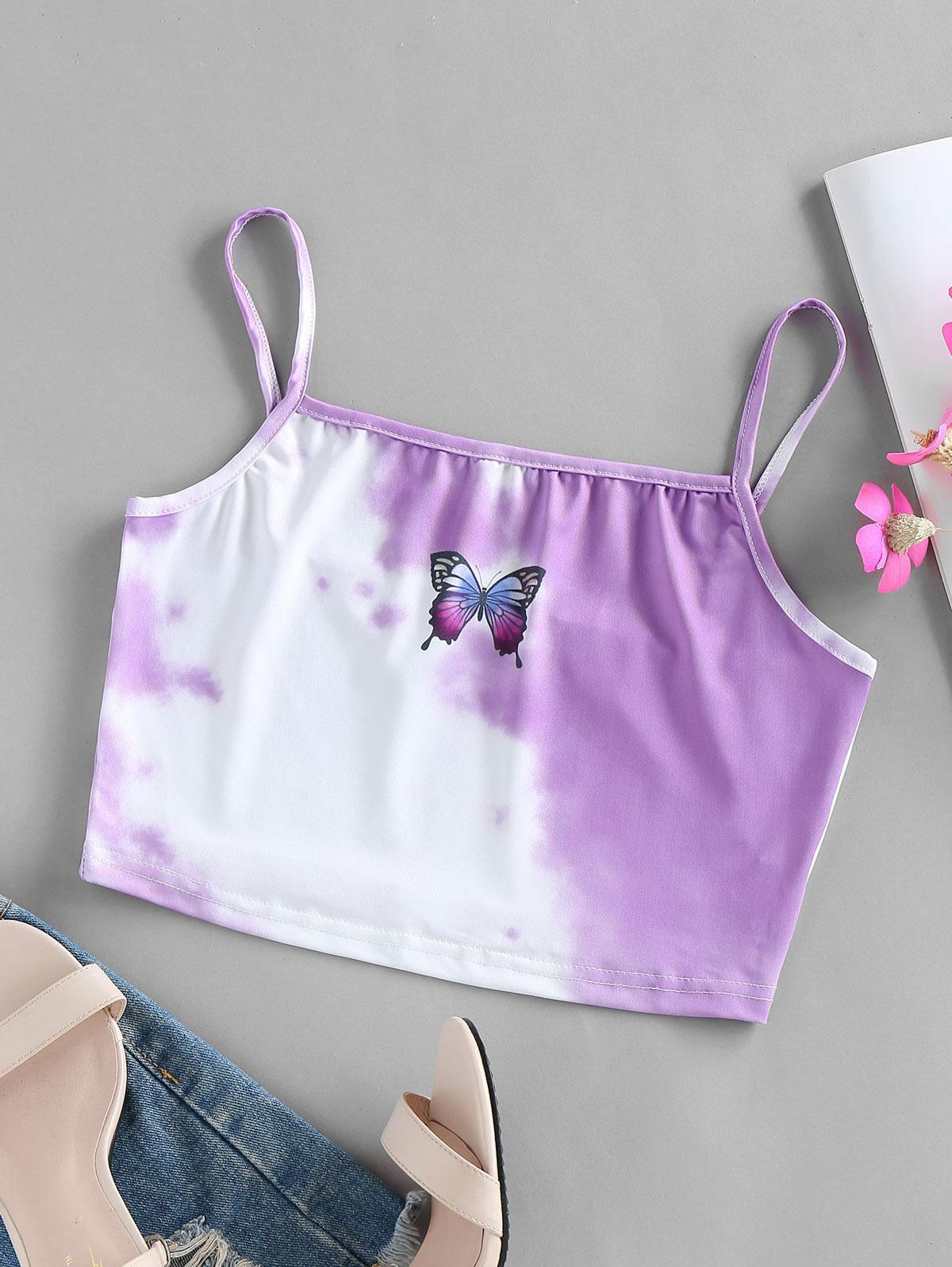ZAFUL Tie Dye Butterfly Print Crop Cami Top
