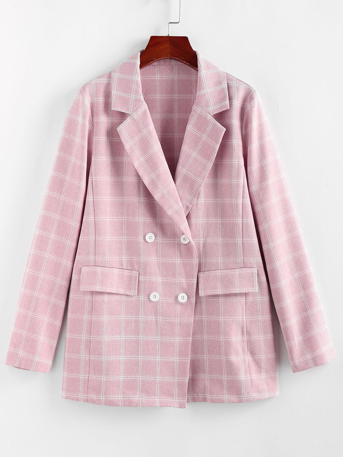ZAFUL Lapel Checked Double Breasted Blazer