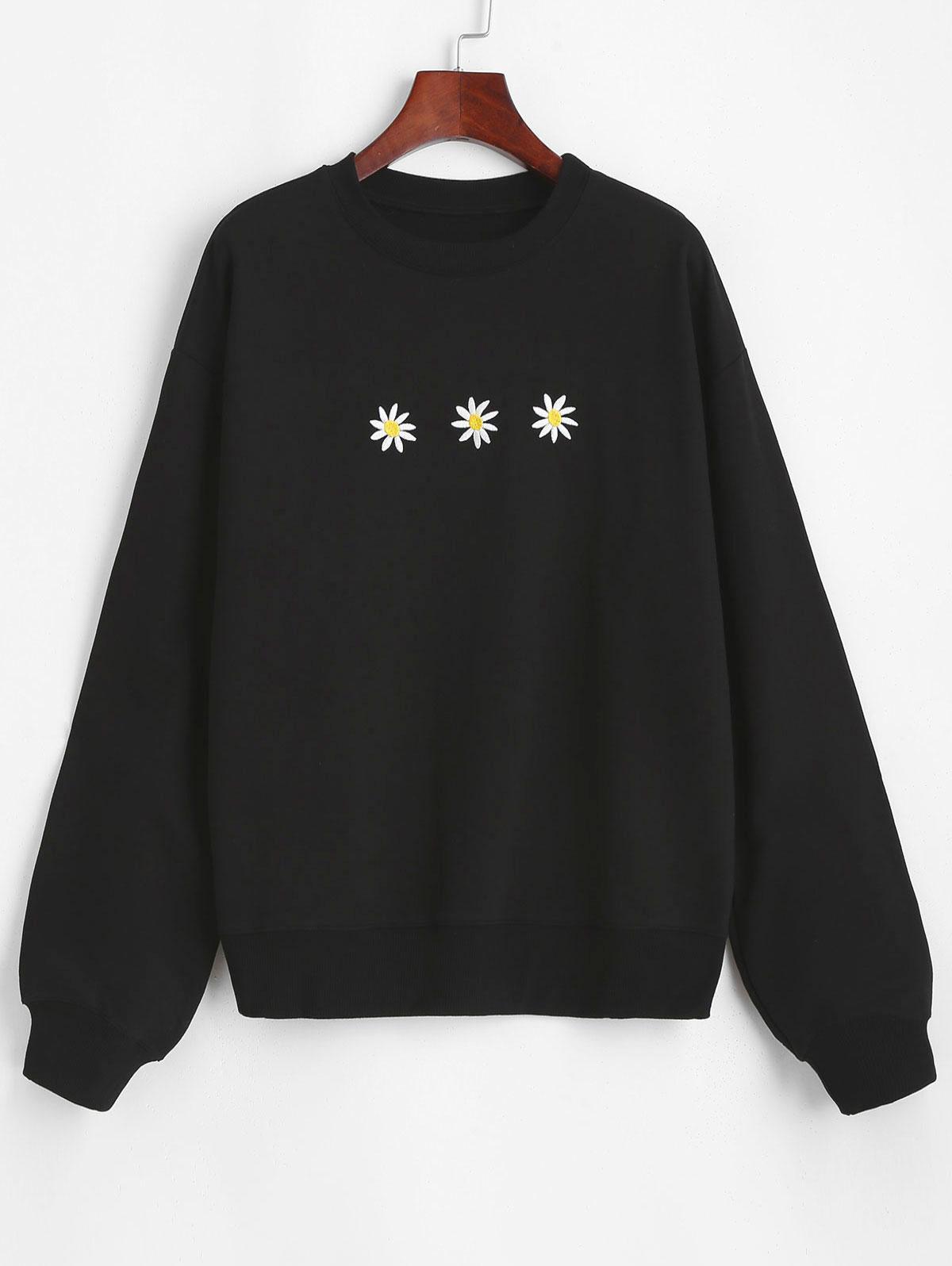 Crew Neck Daisy Embroidered Sweatshirt
