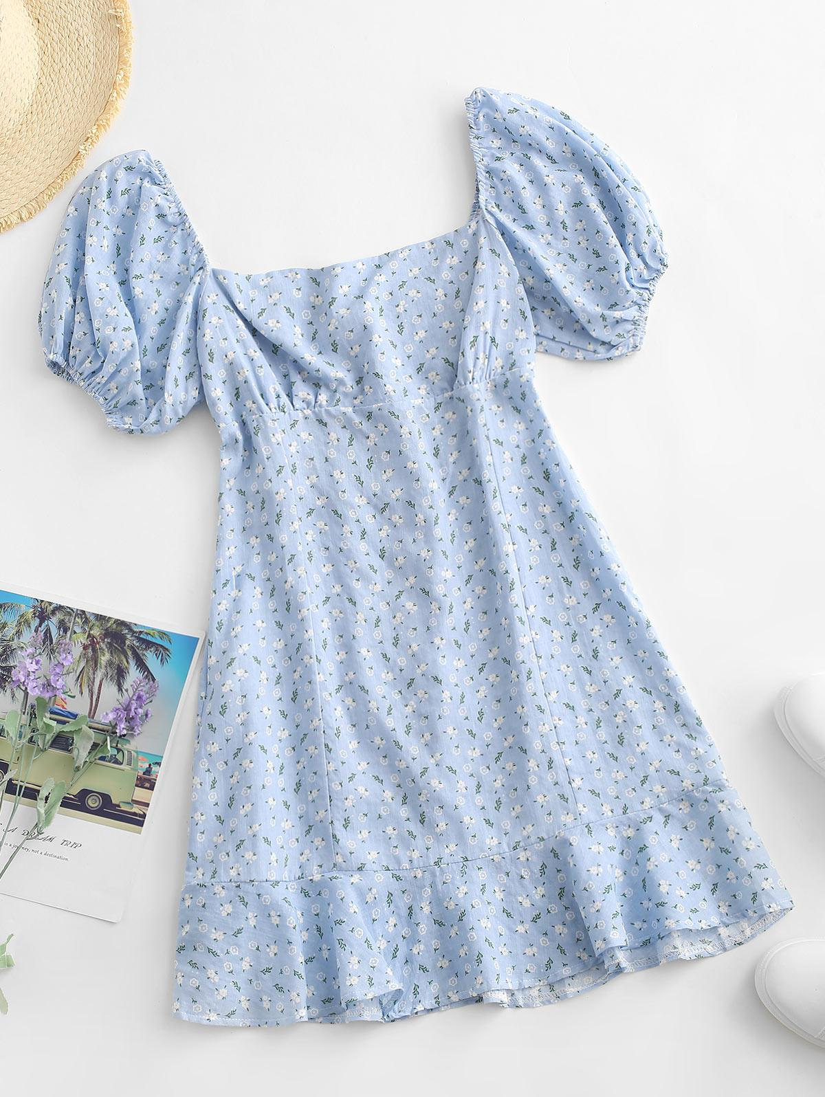 Ditsy Floral Smocked Back Puff Sleeve Milkmaid Dress