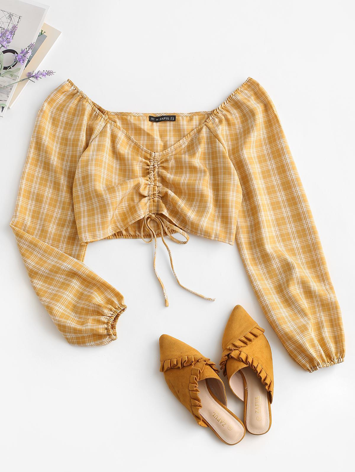 ZAFUL Cropped Cinched Front Plaid Blouse