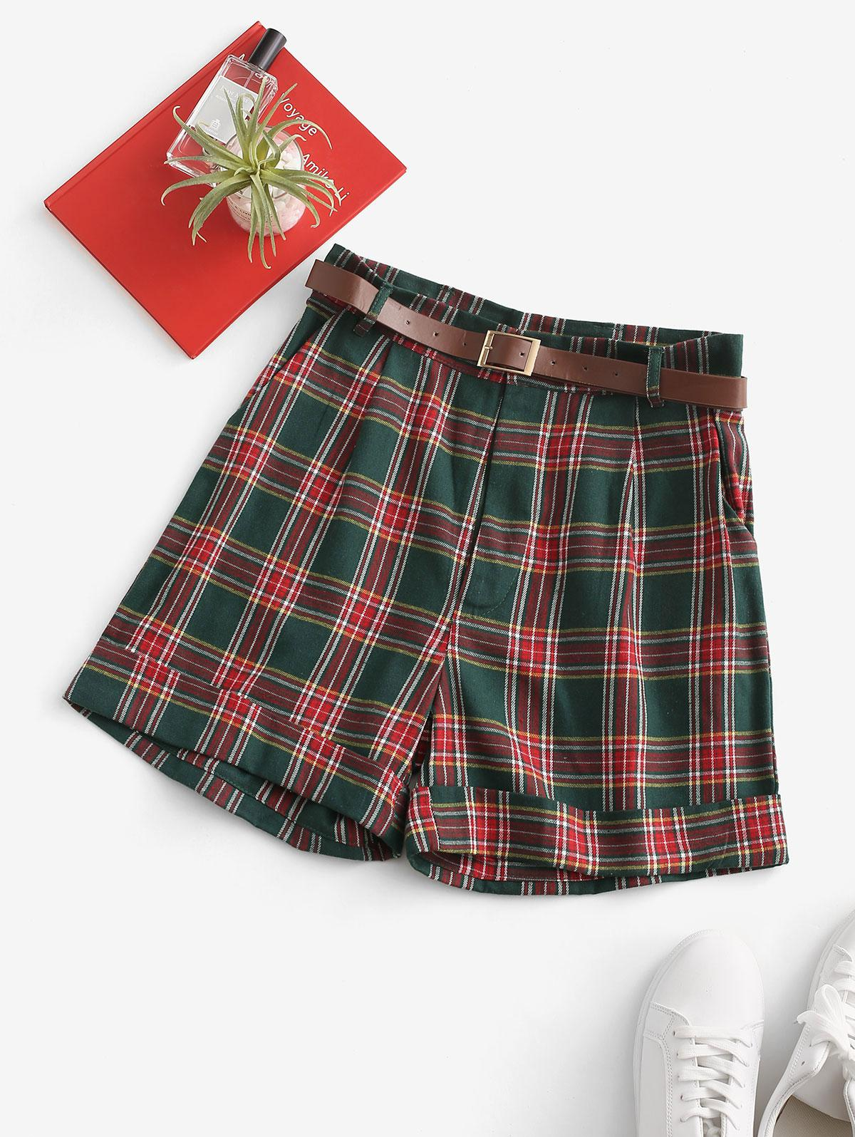 Cuffed Hem Tartan Plaid Buckle Belted Shorts