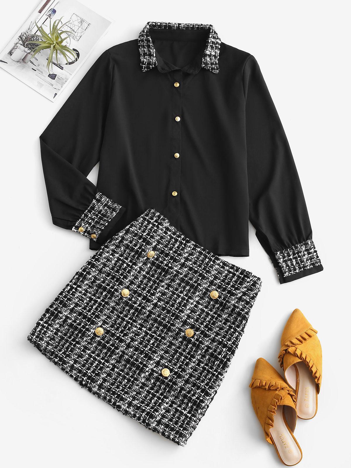 Office Plaid Tweed Sailor Two Piece Dress, Black