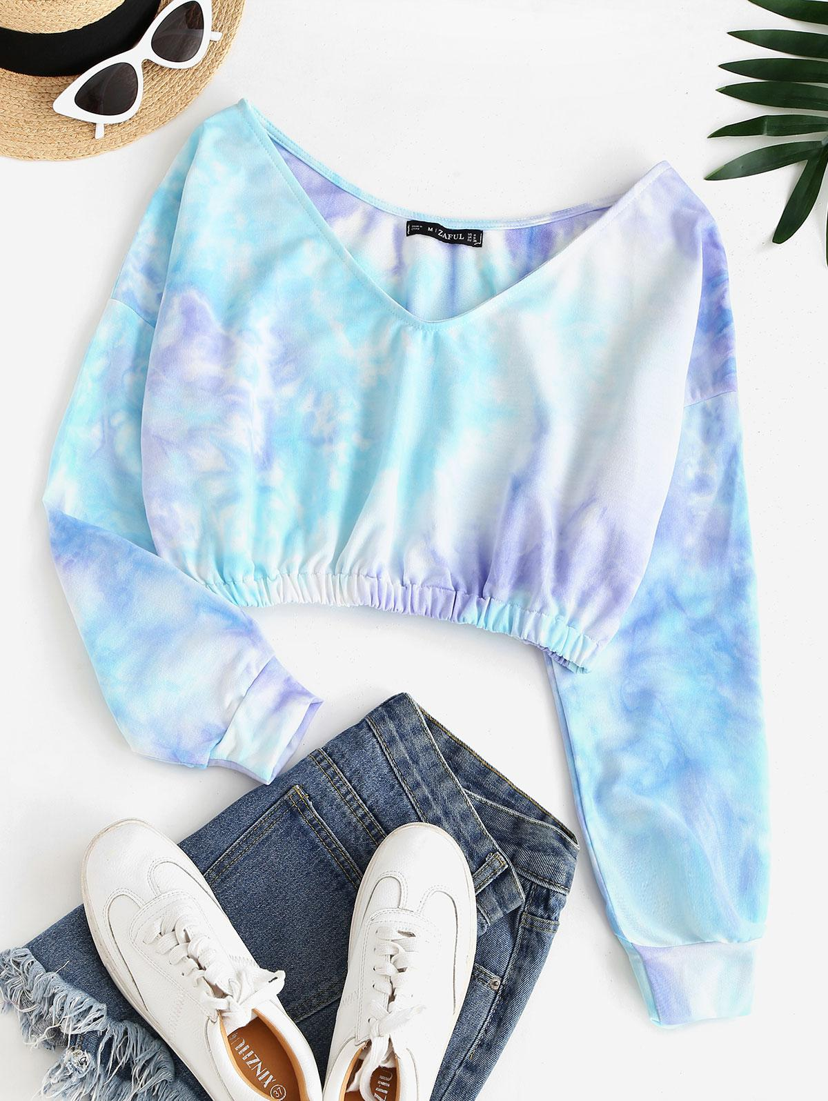 V Neck Tie Dye Cropped Sweatshirt