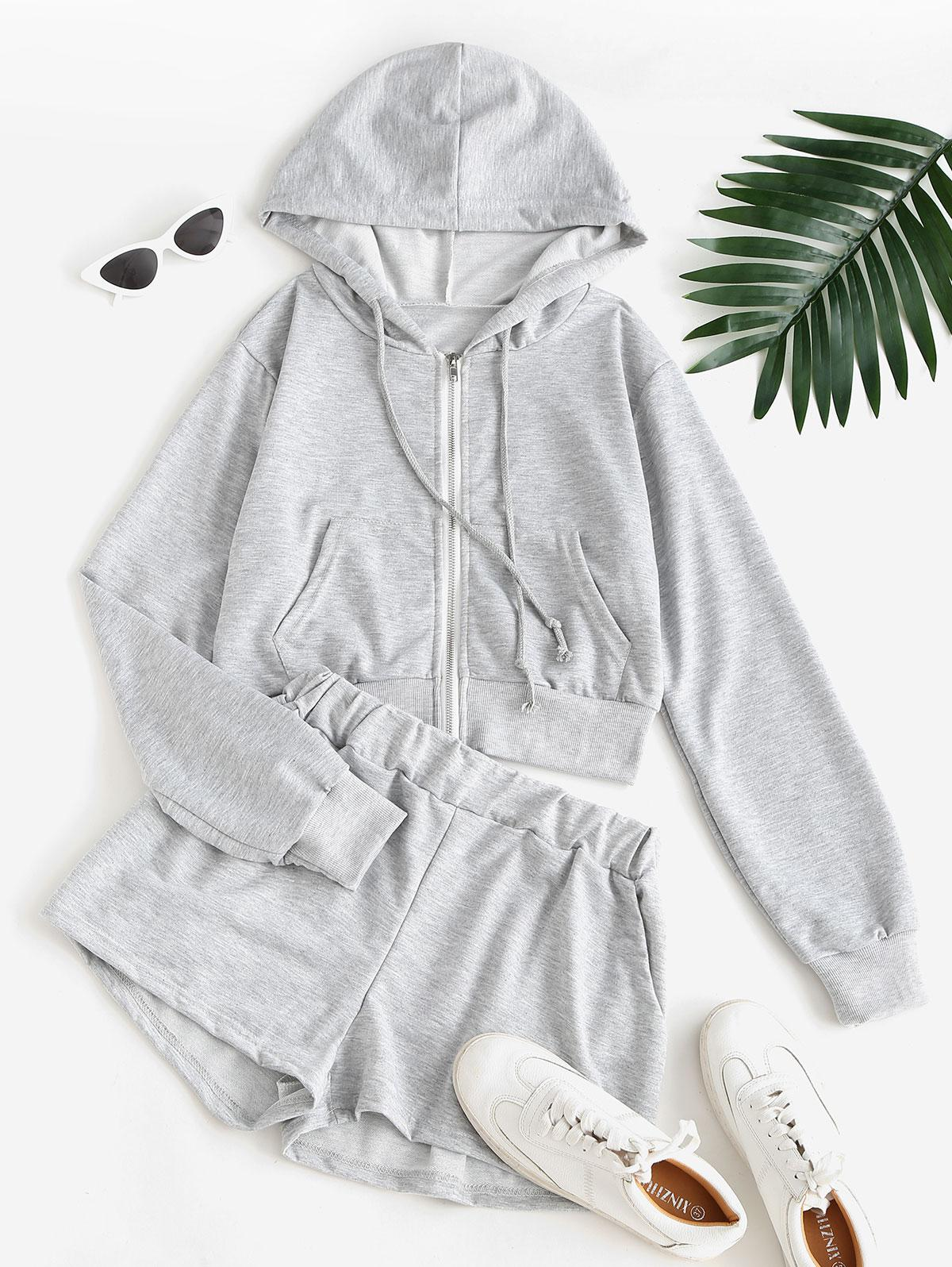 Sweat Marled Zip Up Hoodie and Shorts Set