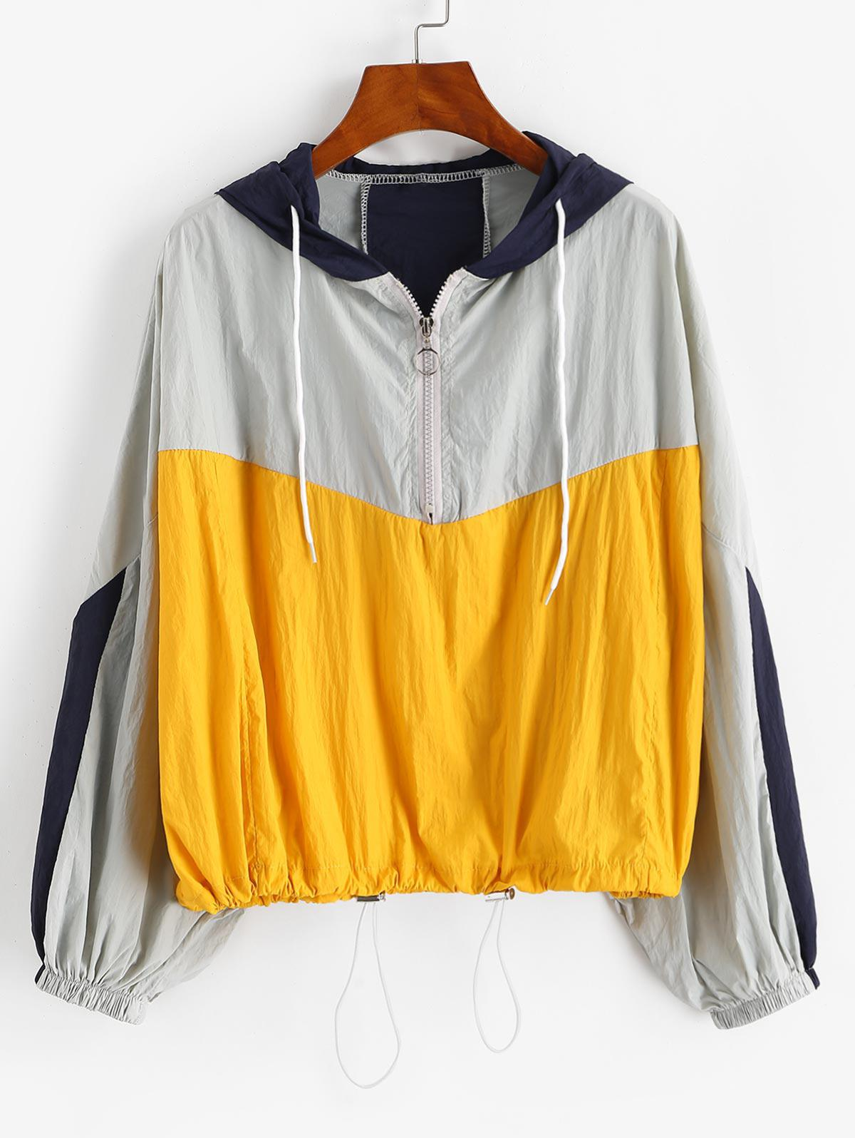 zaful Colorblock Toggle Drawstring Jacket