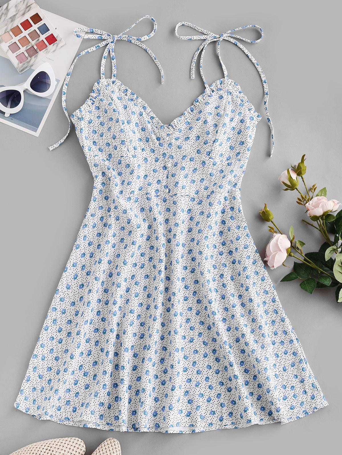 Ditsy Floral Tie Cami Frilled Summer Dress