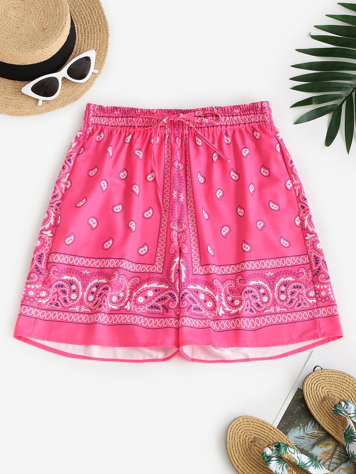 Paisley Print High Waisted Pocket Shorts